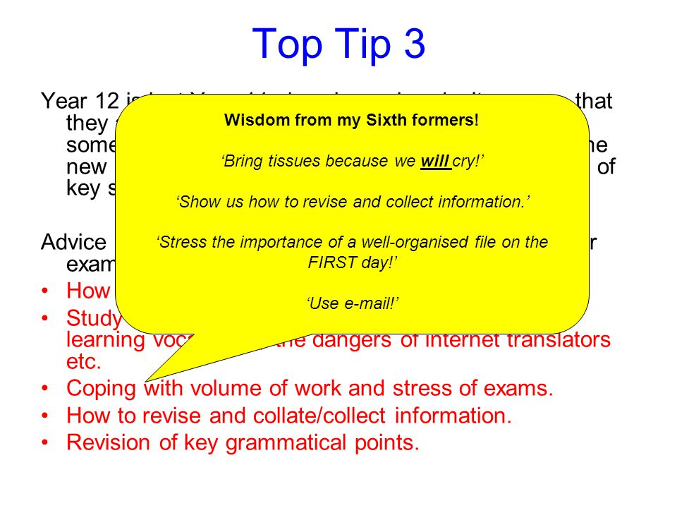 Wisdom from my Sixth formers!
