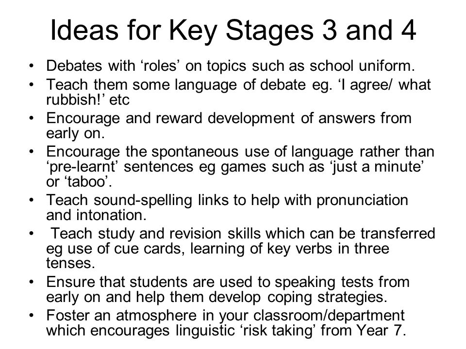 Ideas for Key Stages 3 and 4