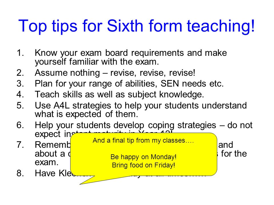 Top tips for Sixth form teaching!