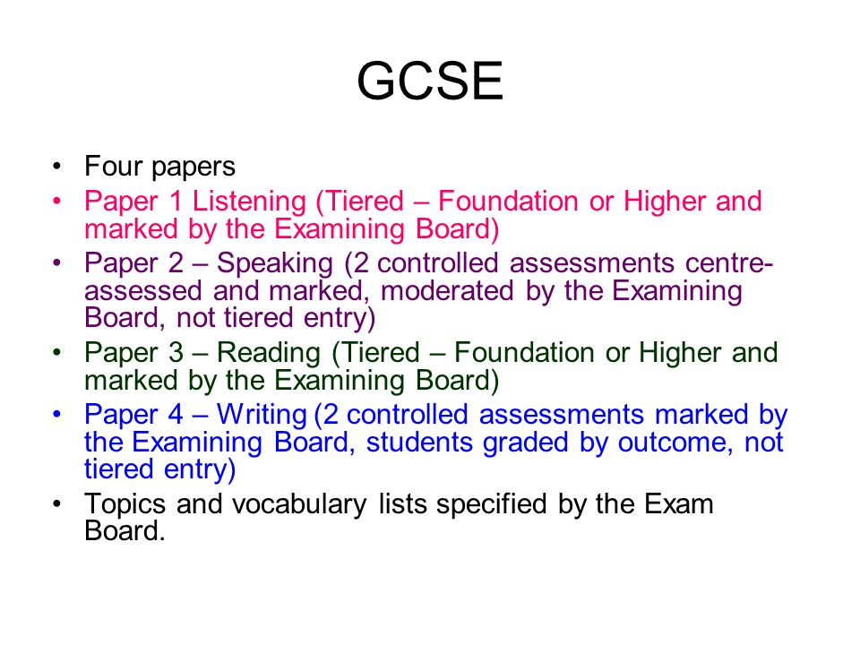 GCSE Four papers. Paper 1 Listening (Tiered – Foundation or Higher and marked by the Examining Board)