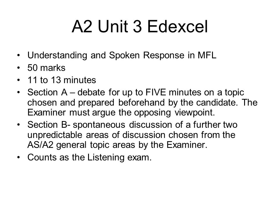 A2 Unit 3 Edexcel Understanding and Spoken Response in MFL 50 marks
