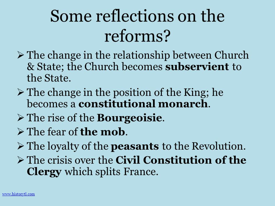 Some reflections on the reforms