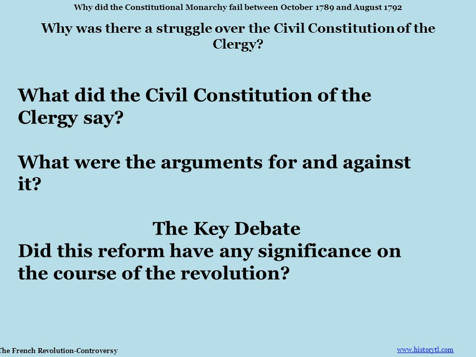 What did the Civil Constitution of the Clergy say