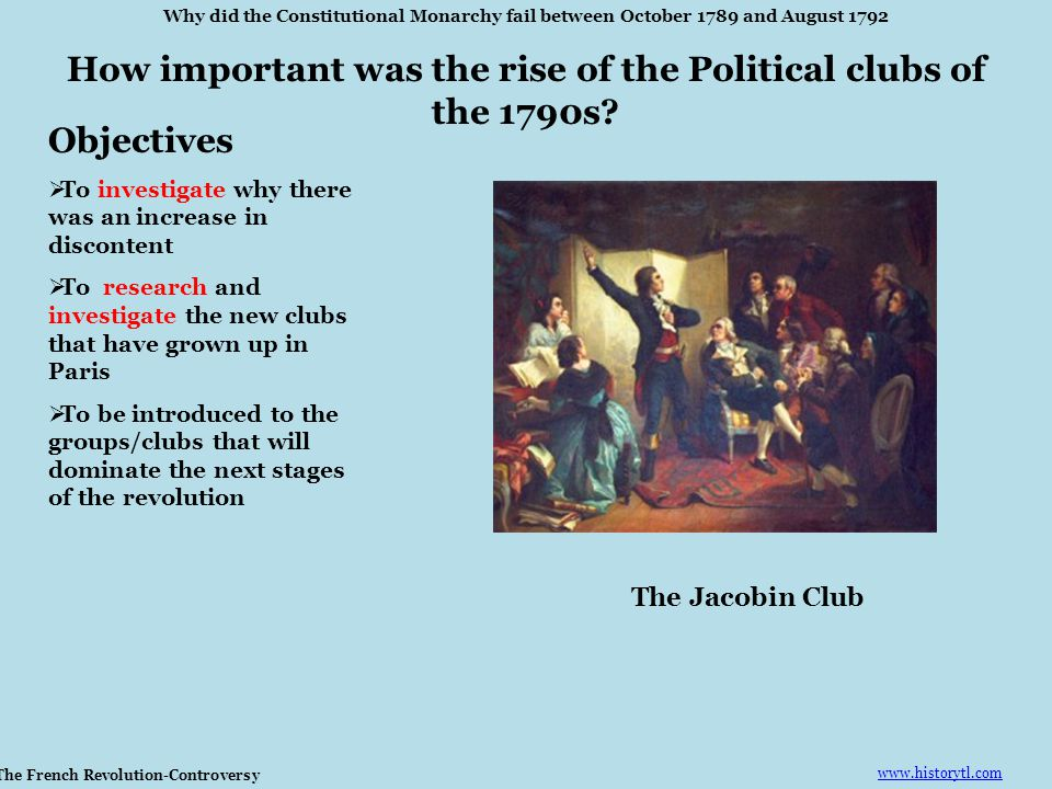 How important was the rise of the Political clubs of the 1790s