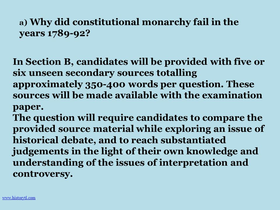 a) Why did constitutional monarchy fail in the years 1789-92