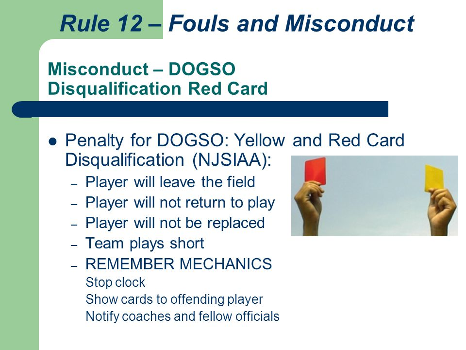 Misconduct – DOGSO Disqualification Red Card