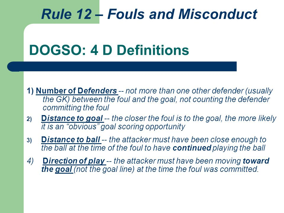 Rule 12 – Fouls and Misconduct