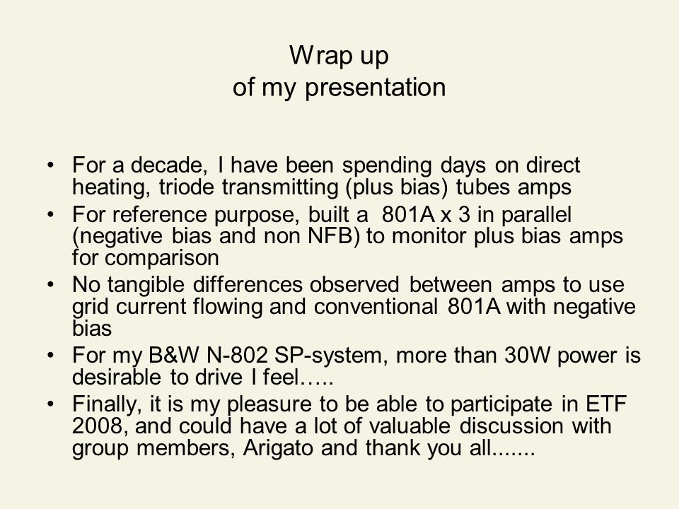 Wrap up of my presentation