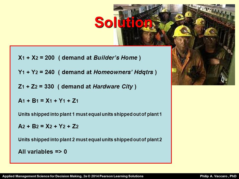 Solution X1 + X2 = 200 ( demand at Builder's Home )