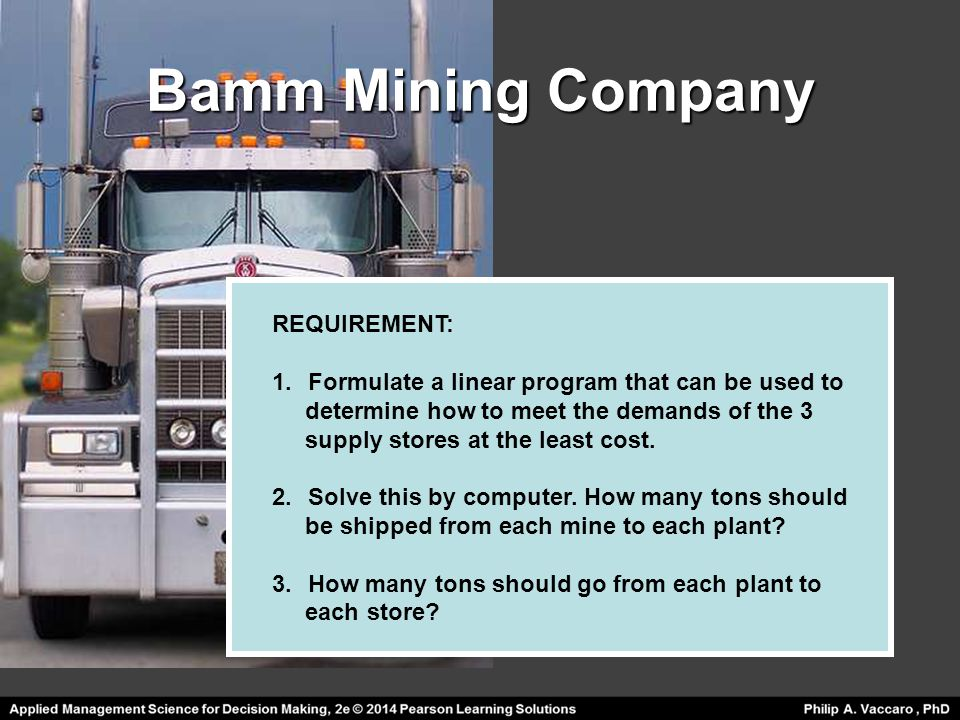 Bamm Mining Company REQUIREMENT: