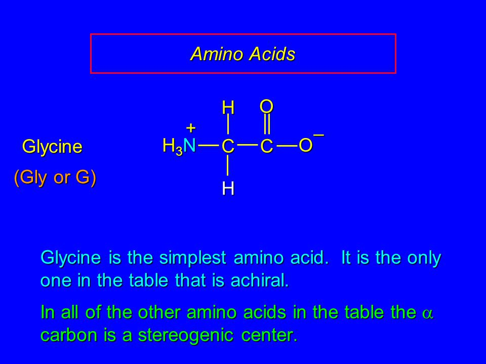 Amino Acids C. O. – H. H3N. + Glycine. (Gly or G) Glycine is the simplest amino acid. It is the only one in the table that is achiral.