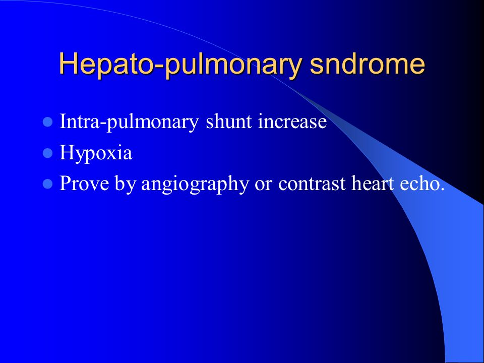 Hepato-pulmonary sndrome