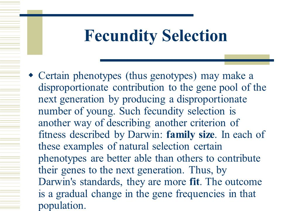 Fecundity Selection