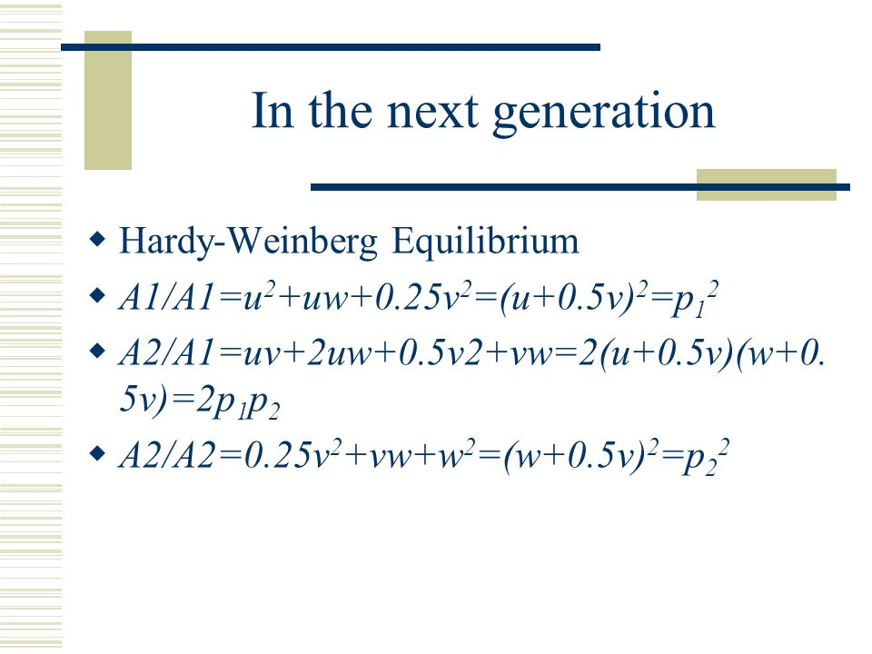 In the next generation Hardy-Weinberg Equilibrium