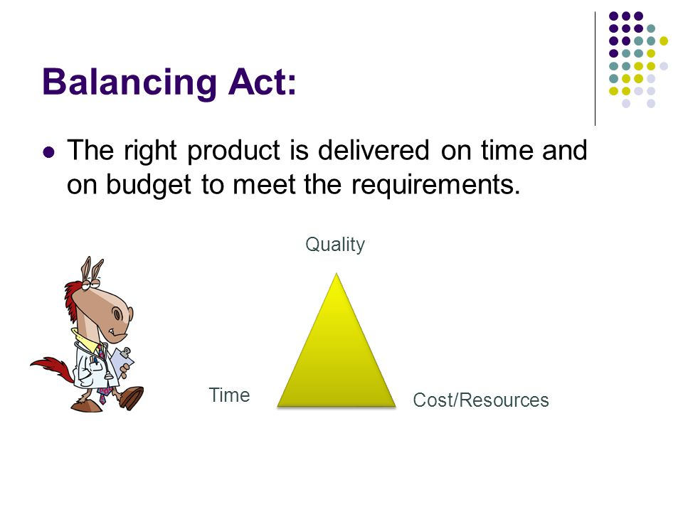 Balancing Act: The right product is delivered on time and on budget to meet the requirements. Quality.