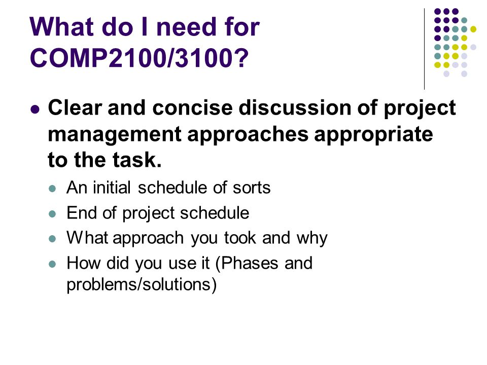 What do I need for COMP2100/3100 Clear and concise discussion of project management approaches appropriate to the task.