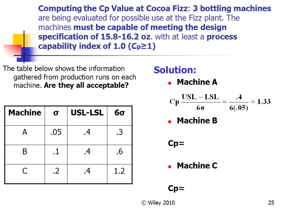 Computing the Cp Value at Cocoa Fizz: 3 bottling machines are being evaluated for possible use at the Fizz plant. The machines must be capable of meeting the design specification of 15.8-16.2 oz. with at least a process capability index of 1.0 (Cp≥1)