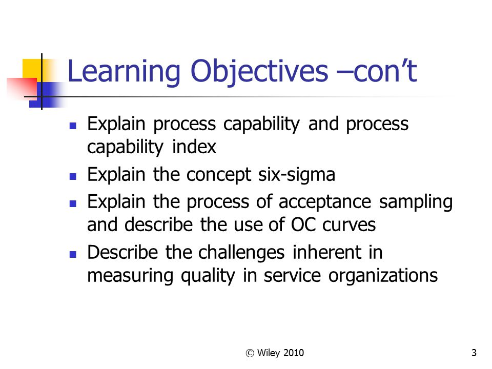 Learning Objectives –con't