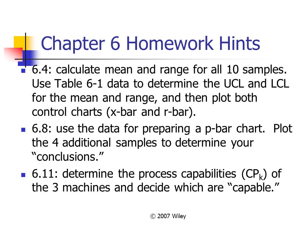 Chapter 6 Homework Hints