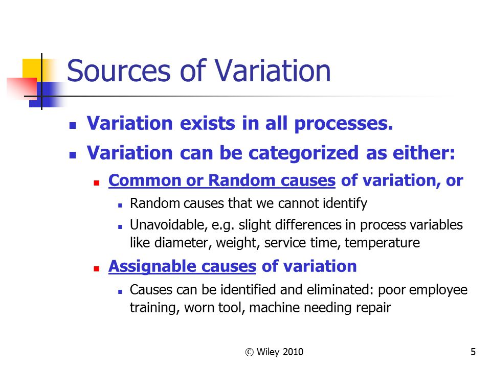 Sources of Variation Variation exists in all processes.