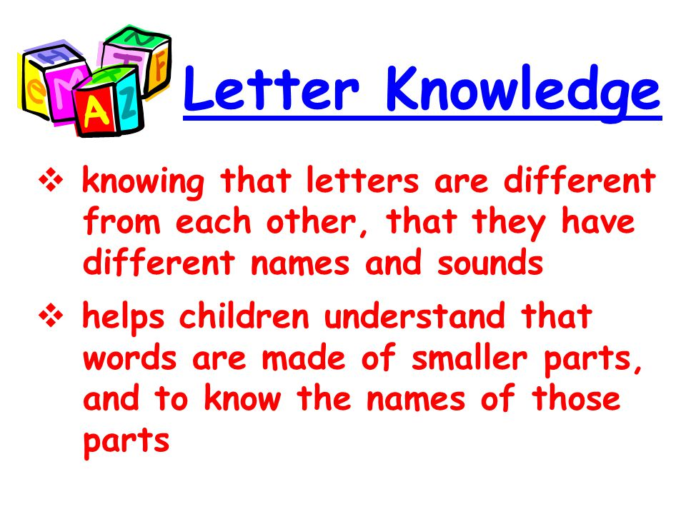 Letter Knowledge knowing that letters are different