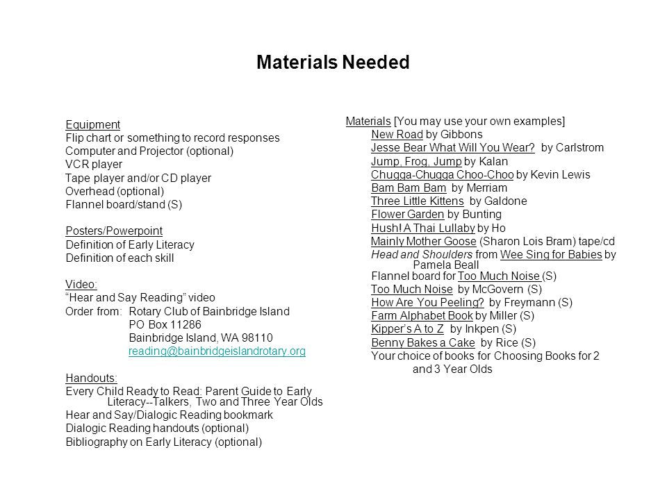 Materials Needed Materials [You may use your own examples]