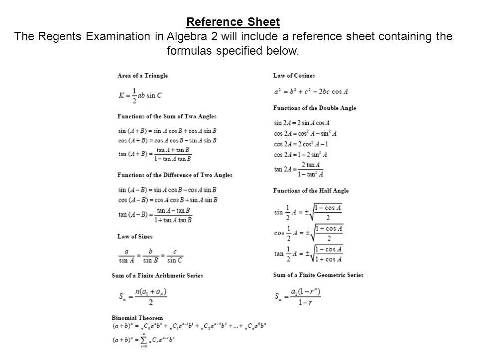 Algebra 2 trigonometry review sheet