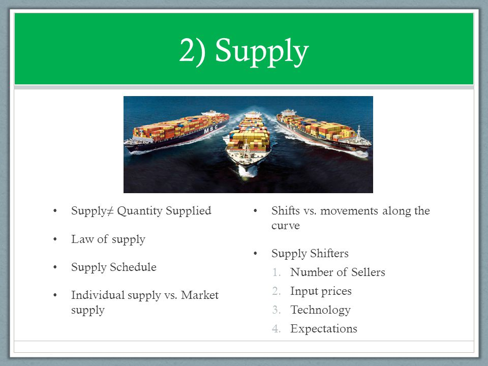2) Supply Supply≠ Quantity Supplied Law of supply Supply Schedule