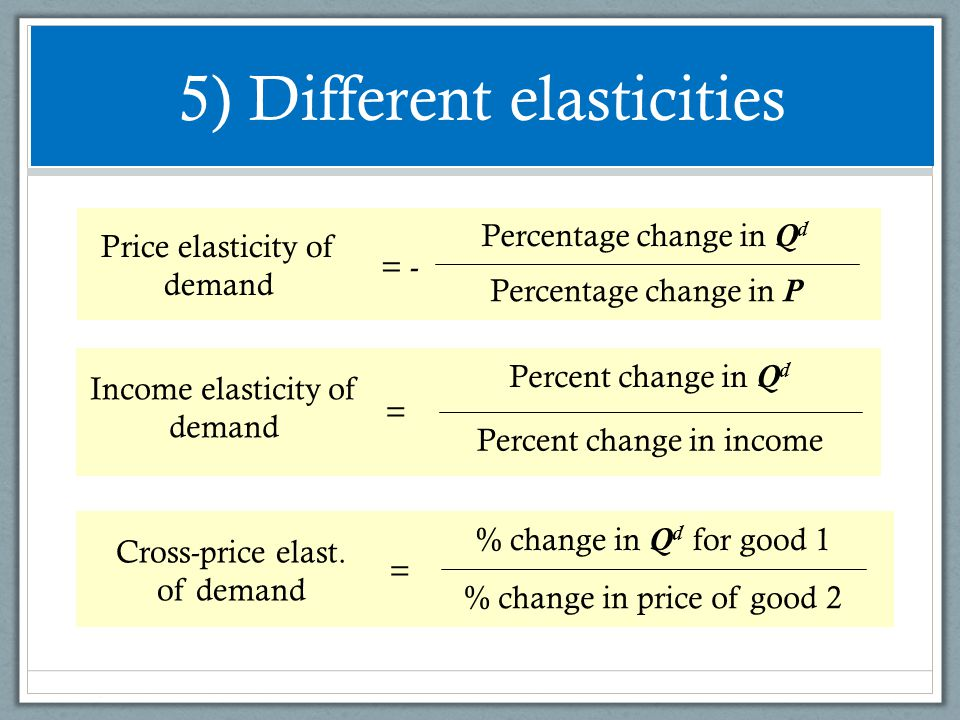 5) Different elasticities