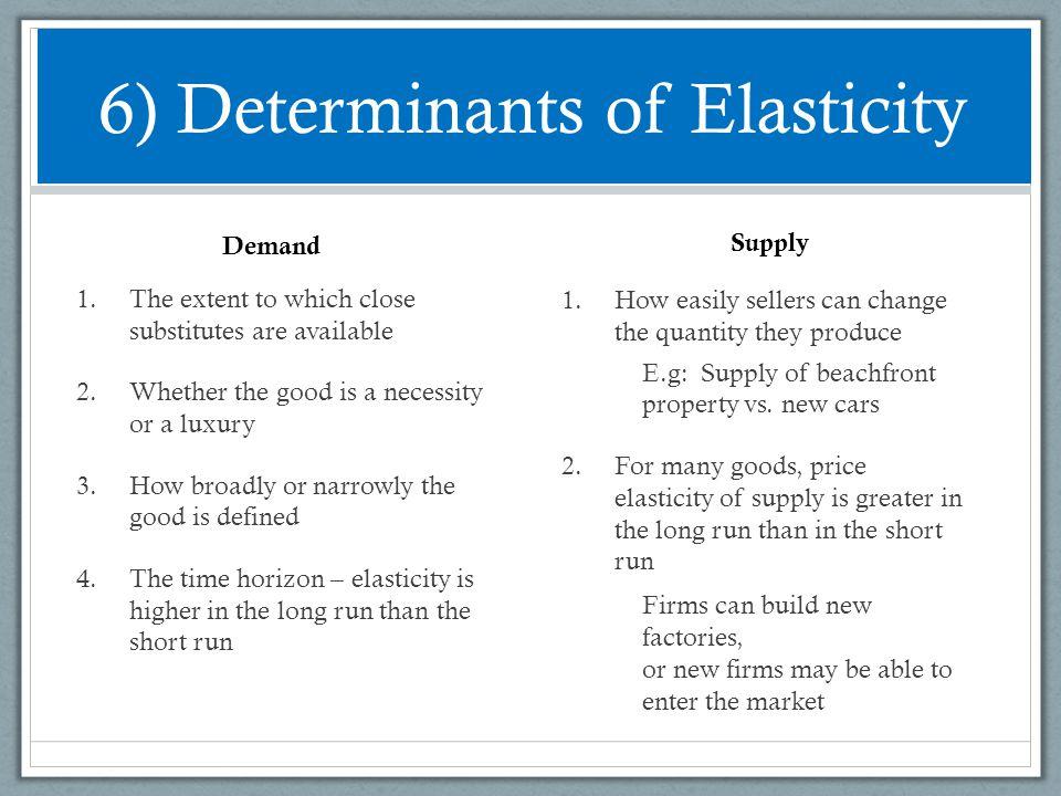 6) Determinants of Elasticity