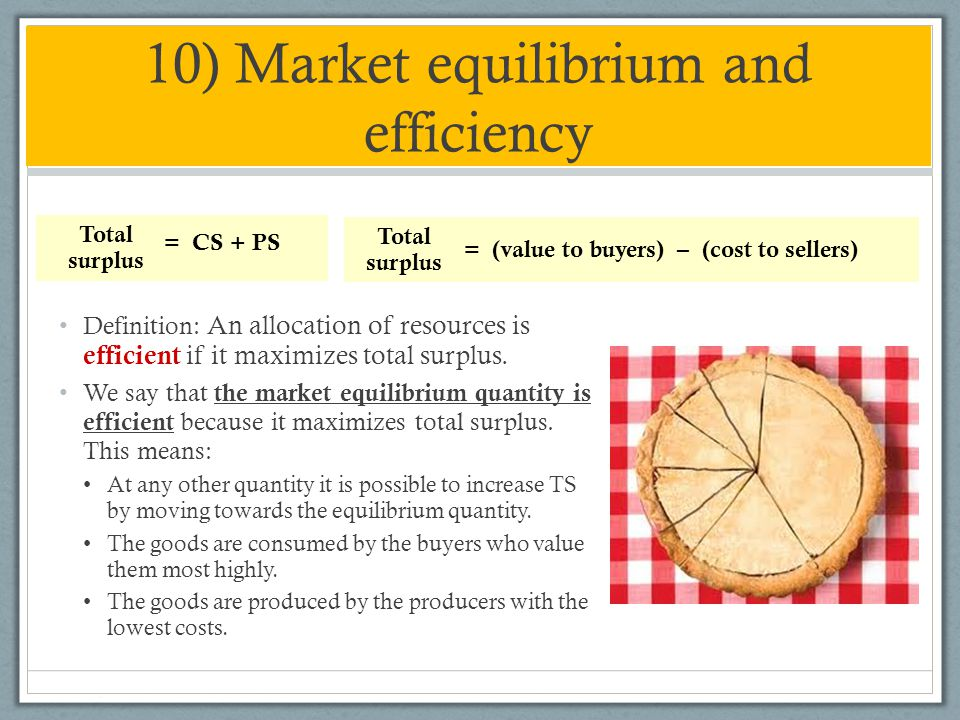 10) Market equilibrium and efficiency