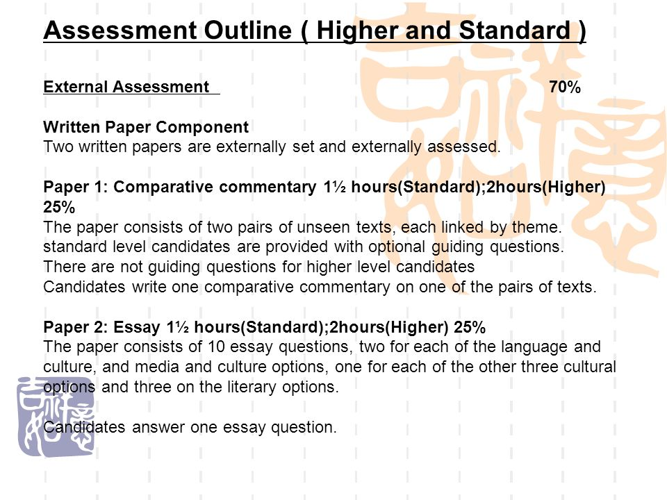Assessment Outline ( Higher and Standard )