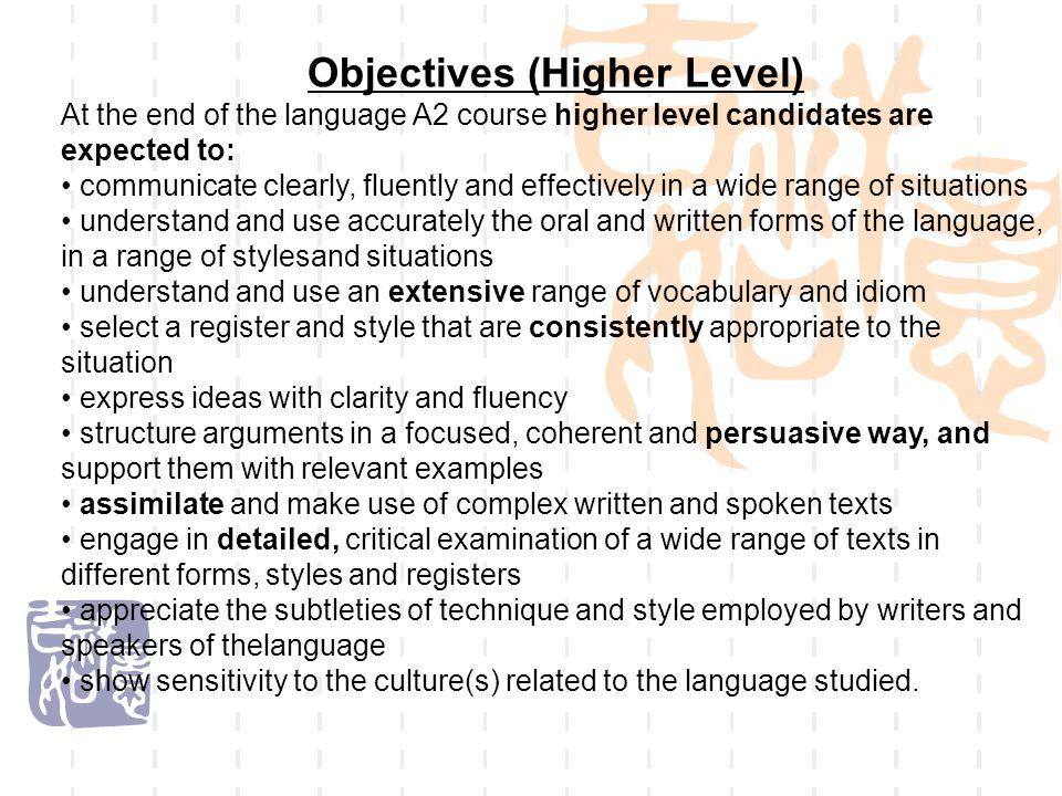 Objectives (Higher Level)