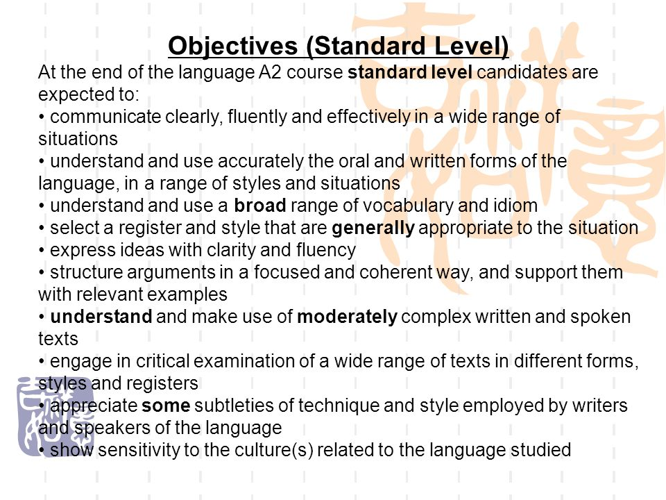 Objectives (Standard Level)
