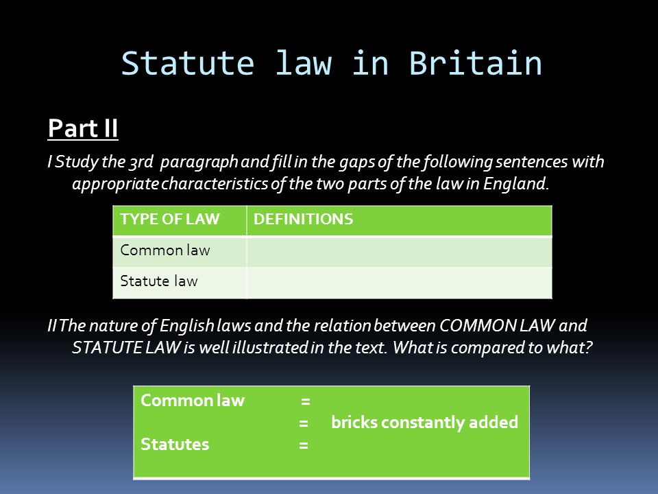 Statute law in Britain Part II