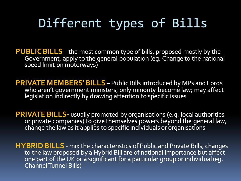 Different types of Bills