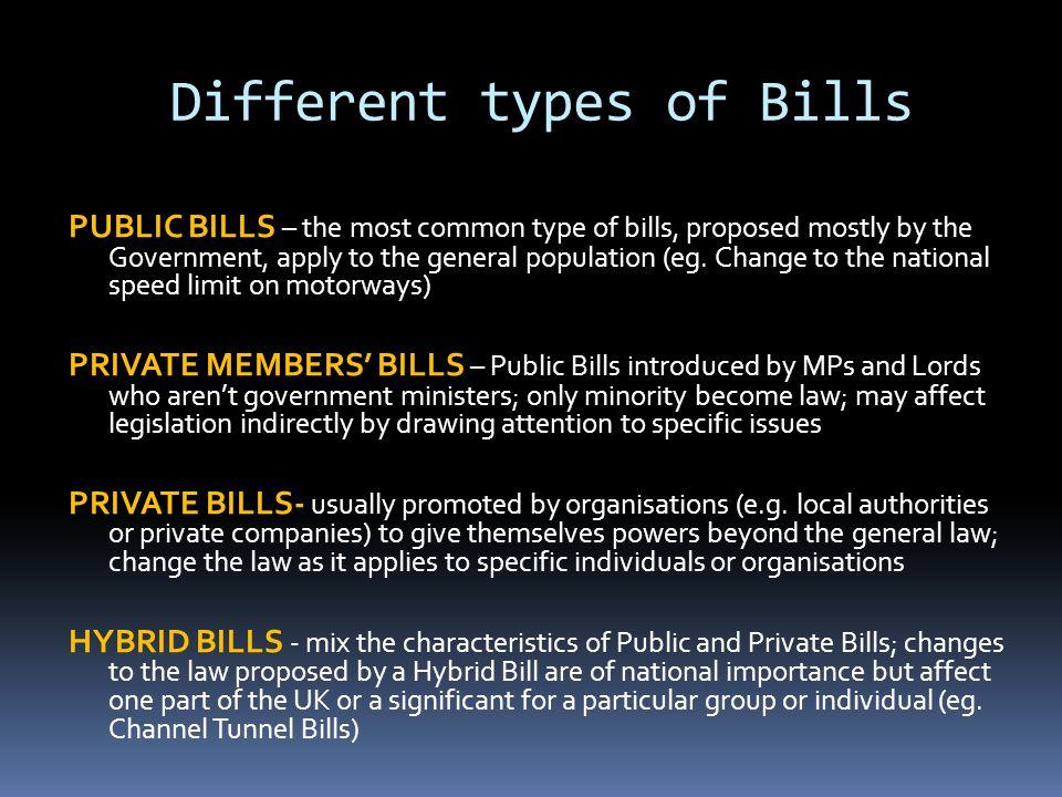 Different types of Bills