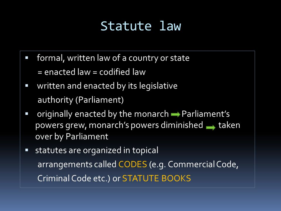 Statute law formal, written law of a country or state