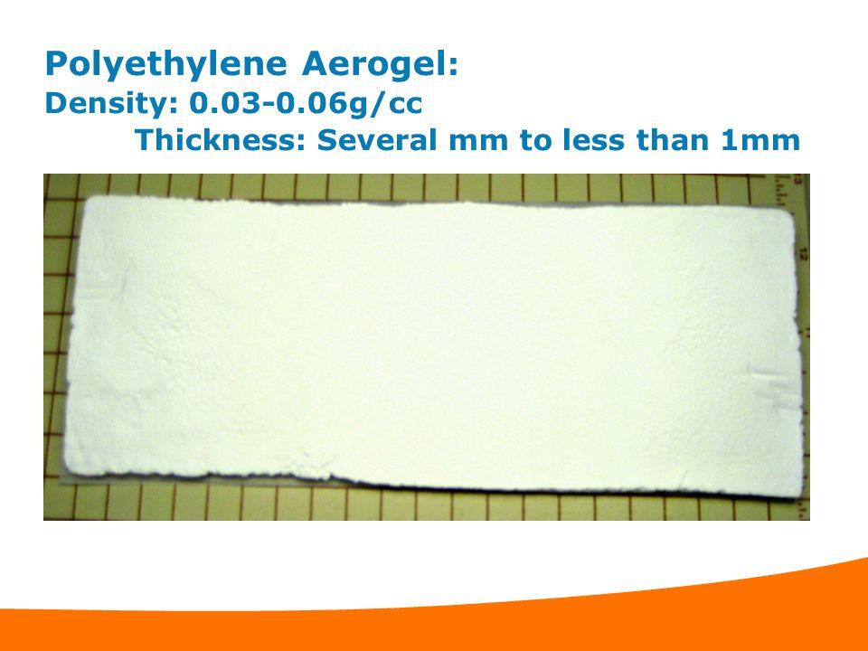 Polyethylene Aerogel: Density: 0. 03-0. 06g/cc
