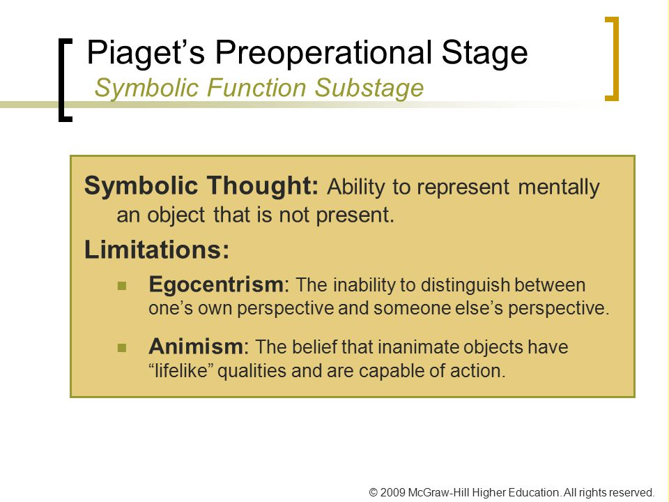 Piaget's Preoperational Stage Symbolic Function Substage