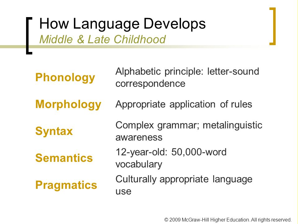 How Language Develops Middle & Late Childhood