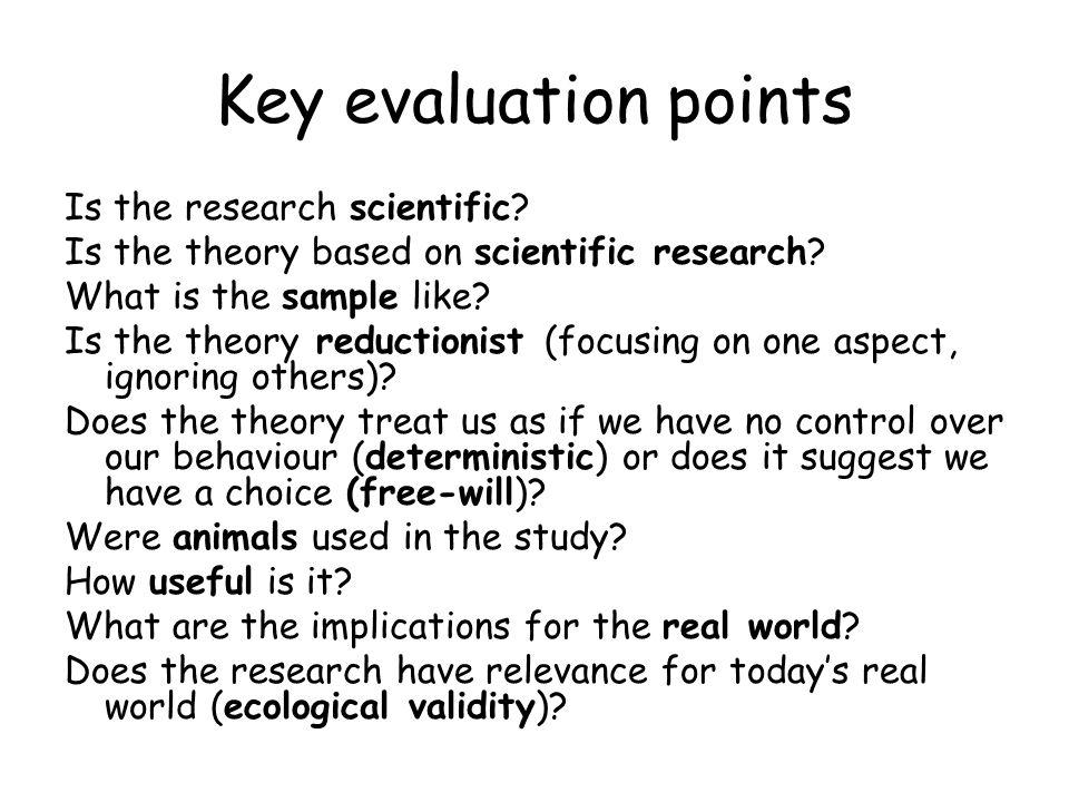 Key evaluation points