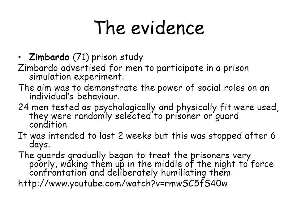 The evidence Zimbardo (71) prison study