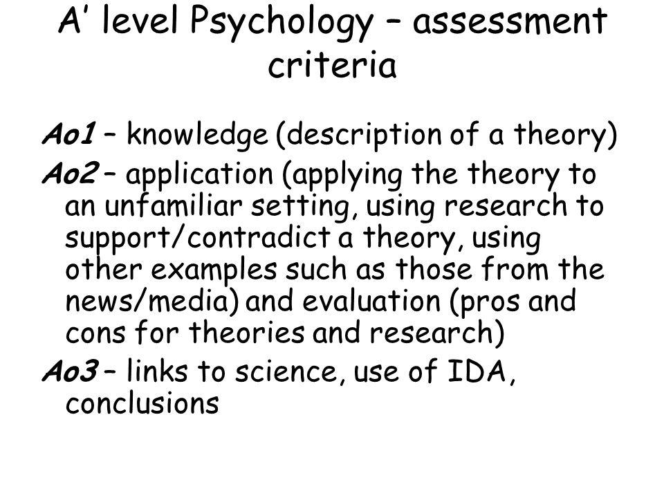 A' level Psychology – assessment criteria