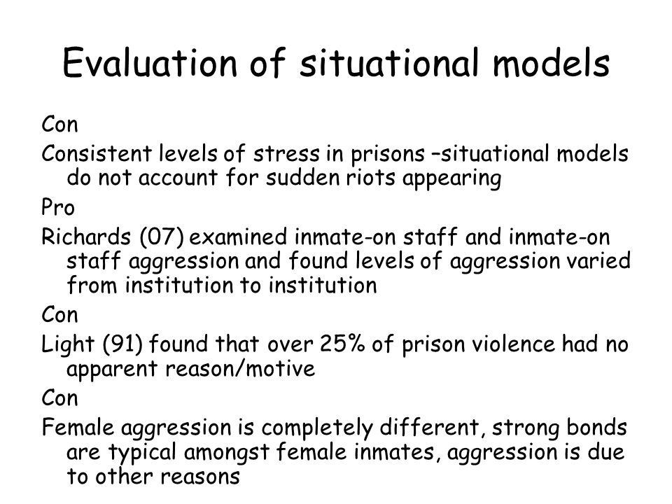 Evaluation of situational models