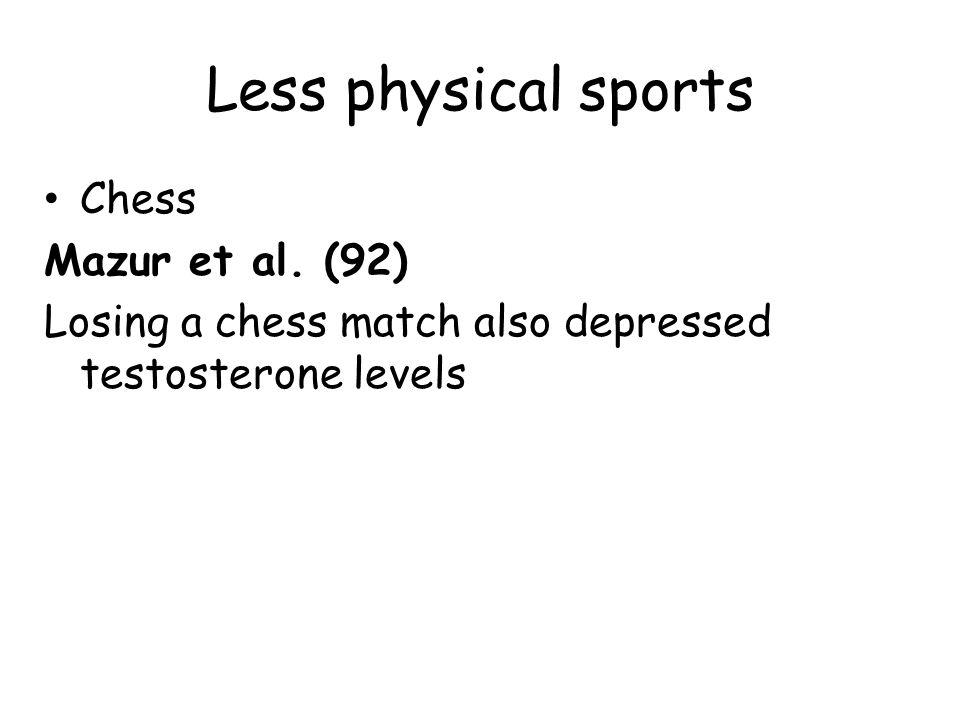 Less physical sports Chess Mazur et al. (92)