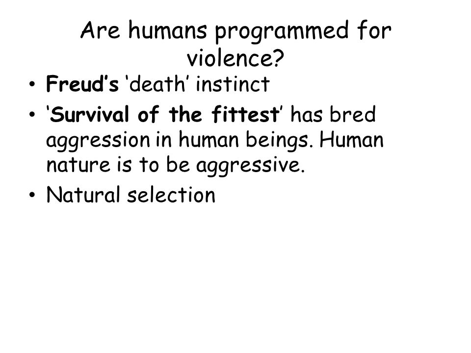 Are humans programmed for violence