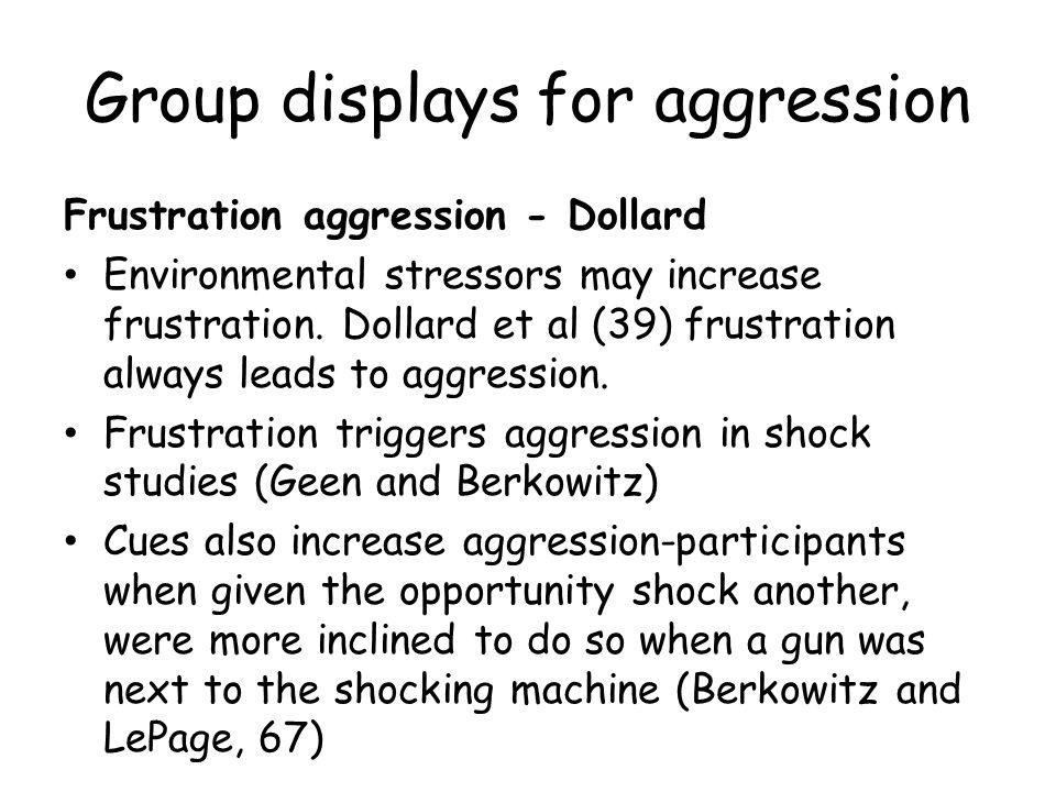 Group displays for aggression