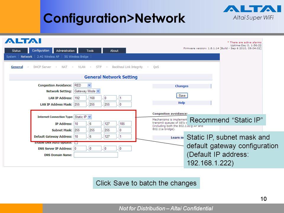 Configuration>Network