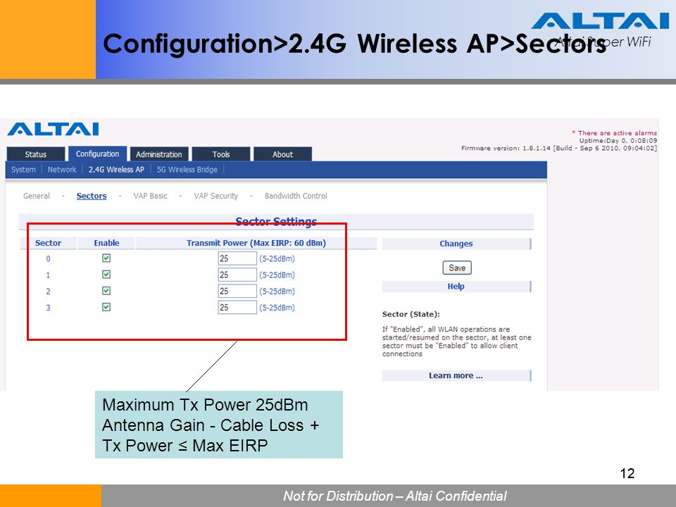 Configuration>2.4G Wireless AP>Sectors